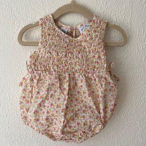 Vintage | baby girl floral smocked bubble romper